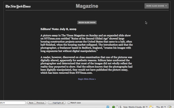 A second Editor's Note posted by the New York Times offers more insight into the digital manipulation.